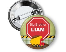 Personalized Big Brother T shirt Button - Big Brother Gift - Baby Shower Gift - Big Brother Button - Big Brother Pin