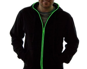 Light Up Hoodie, Glow in the Dark, Light Up, Rave Wear, Tron, Costume, LED