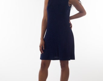 Flirty Navy Blue Sparkle Sleeveless Mini Dress Size Medium