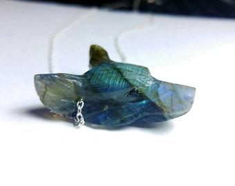 Carved Labradorite gemstone crystal wolf head necklace