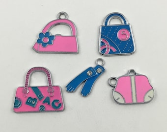 5 handbag and gloves silver tone and enamel charms, 20mm to 23mm# ENS A 249
