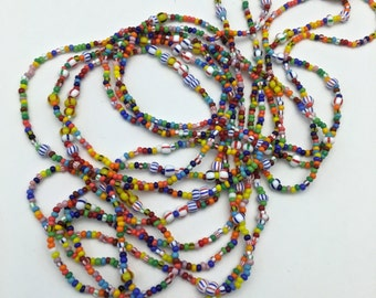 3 strand  czech love glass beads 18 inches (approx) vintage#PV136