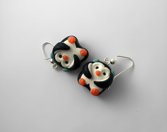 Penguin Earrings, Clay Penguin Earrings, Winter Earrings