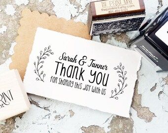 Thank You Stamp, Wedding Stamp, Wedding Thank You Stamp, Rustic Wedding, Custom Wedding Favor Stamp, Wreath Stamp 10203