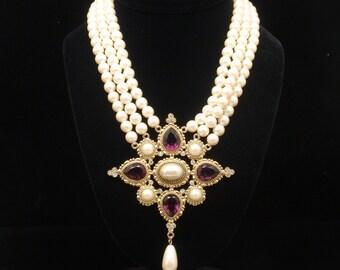Triple Strand Imitation Pearls Necklace 1928