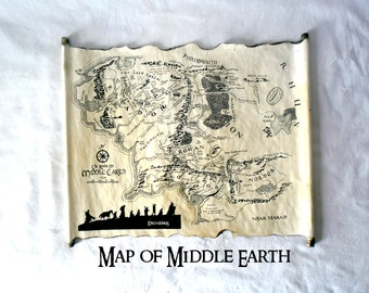 Map Of Middle Earth Scroll Lord Of The Rings Map The Hobbit