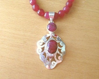 Ruby Necklace, Sterling Silver Double Ruby Pendant and Bead Necklace