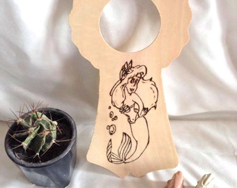 Wood burned pyrography Ariel the little mermaid door hanger