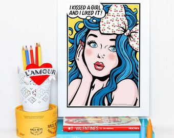 I Kissed a Girl (Katy Perry), Pop Art Lyrics Poster, Comic Book Style Song Illustration, Music Art Print, Song Lyrics Art