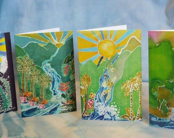 4 pack Greeting Cards Original Batik Artwork Waterfalls