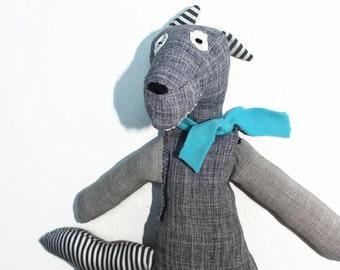 WOLFIE wolf softie grey blue, wolf plushie, stuffed wolf toy, wolf soft toy, woodland animal, friendly forest creature