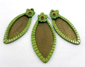 Leaf shape Bezels Flower Frame Pendant and earrings Set made from polymer clay for making jewellery with Pebeo Paints and Epoxy resin!