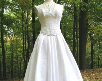 Sale - Sale -Beautiful Vintage White Corset  Bridal Gown/Dress