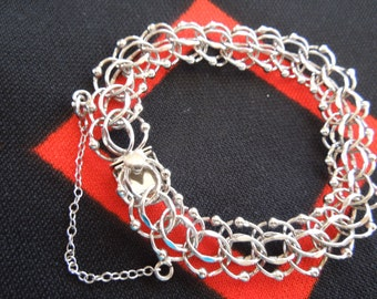 "Sterling Silver Elco Charm Bracelet With Safety Chain 7  1/2"" Bracelet from Charmhuntress 02763"