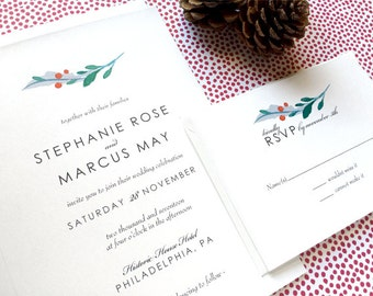 Winter Wedding Invitation Suite - Woodland Winter Wedding Invitations - Wedding Invitation Suite - Holly and Berries