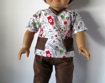 18 Inch Doll Outfit, Brown and White Dog Print Scrubs, Top and Pants, fits 18 inch dolls such as American Girl dolls