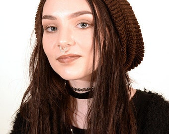 Slouchy beanie hat in brown M (MD-1008)