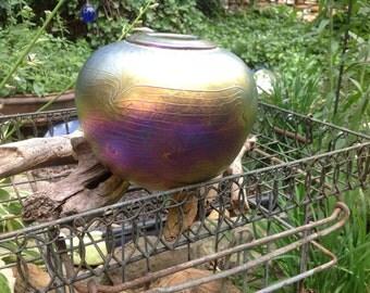 Vintage hand-blown Aurene Glass Vase - Joe Mattson - Art Glass - WeatonArts