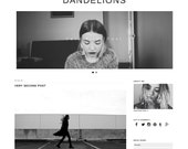 "Responsive Wordpress Theme ""Dandelions"" // Blog Design Instant Download Template"