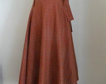 70's Wrap Skirt Calico Cotton Boho Hippie Skirt