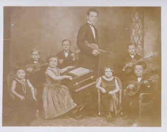 Strange 1920's Midget Orchestra Nebraska State Fair Real Photo Postcard - Free Shipping