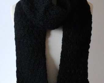 Black Handmade Scarf, Warm Scarf, Winter Scarf, Crochet Scarf, Holiday Gift