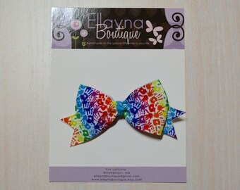 Boutique Style Hair Bow - Hands, Handprints, Bright Colors