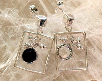 Sterling Silver and Crystal Open Square Frame Earrings - Choice of Crystal Color