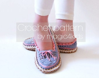 Crochet pattern- toddler slippers with rope soles,for kids 1- 10 yo,soles pattern included,loafers,shoes,espadrilles,child,girl,boy,cord