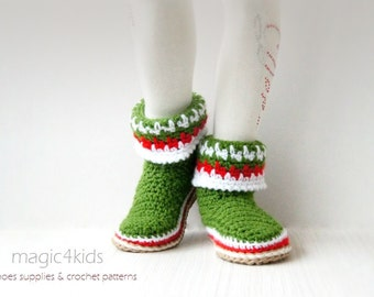 Crochet pattern- XMAS boots with rope soles for kids,soles pattern included,toddler,1 yo- 10 yo,cord,twine,slippers,loafers,boy,girl,booties