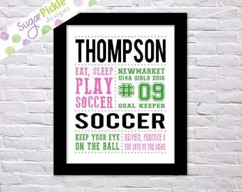 Soccer print for girls, Soccer Subway art, Soccer Print, Soccer Stats Art, Soccer Wall Art, Soccer printables, Team Gift, Personalized,