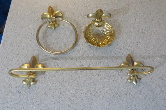 Vintage retro mid century brass fleur de lis home decor - Fleur de lis towel bar ...