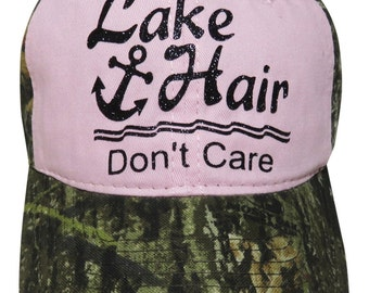 "New Arrival! Black Glitter ""Lake Hair Don't Care"" Anchor Pink/Camo Baseball Cap"
