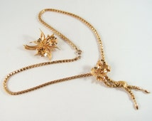 Flowers and snow drops stamped 18K solid gold necklace and brooch set, box link chain, fine gold jewelry set, lovely solid gold demi parure