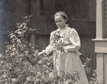 Antique Photo ~ Victorian Girl picking flowers