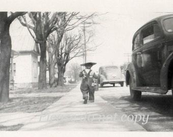 He's a little runaway ~ Vintage Snapshot Photo
