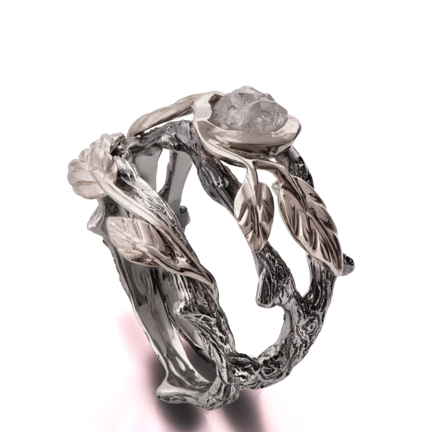 Twig and Leaf Engagement Ring 18K White Gold Rough Diamond