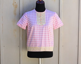 Pink Gingham Top - Vintage Babydoll Top - Short Sleeve Checkered Shirt - Retro Tartan Blouse - Pink Plaid Shirt with Lace - 60s Mod Top