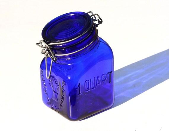 Blue Glass Canister One Quart Cobalt Glass Vintage By Jumpinjiminy