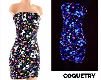 Neon Unicorns and Rainbows Strapless Tube Dress Clubwear, Bodycon Nylon Spandex    152407