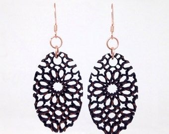 Ornate Lace Carved Wood Earrings (Handmade from mahogany)