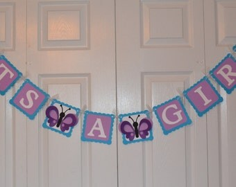 Butterfly Its a Girl Banner / Butterfly Baby Shower Banner