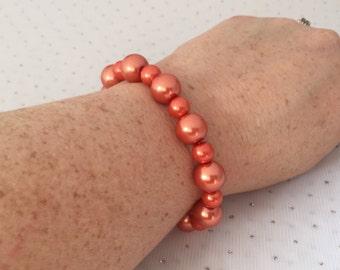 Orange Pearl Bracelet, Chunky Pearl Wedding Bracelet, Orange Bridesmaid Wedding Jewelry, Orange Glass Beaded Jewelry, Fall Wedding