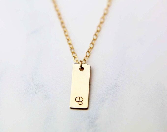 Name Tag Bar Necklace - Personalized Mini Vertical name plate necklace, Initial Monogram Necklace // Gift for her  EP018