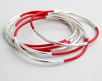 Set of 6 Genuine Leather SILVER Double Tube CUSTOM Leather Bangles - Pick Color / Size, Lead Free Leather Bangle Bracelet, Gift For Her