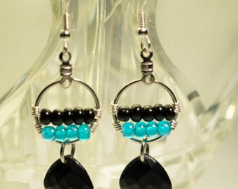 Wire Wrapped Dangle Hoop Earrings (multiple color choices)
