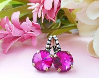 Pink Crystal Earrings - Fuchsia Rhinestone Earrings - Swarovski Crystal Jewelry - Rose Pink Earrings - Magenta Earrings - Hot Pink E3937