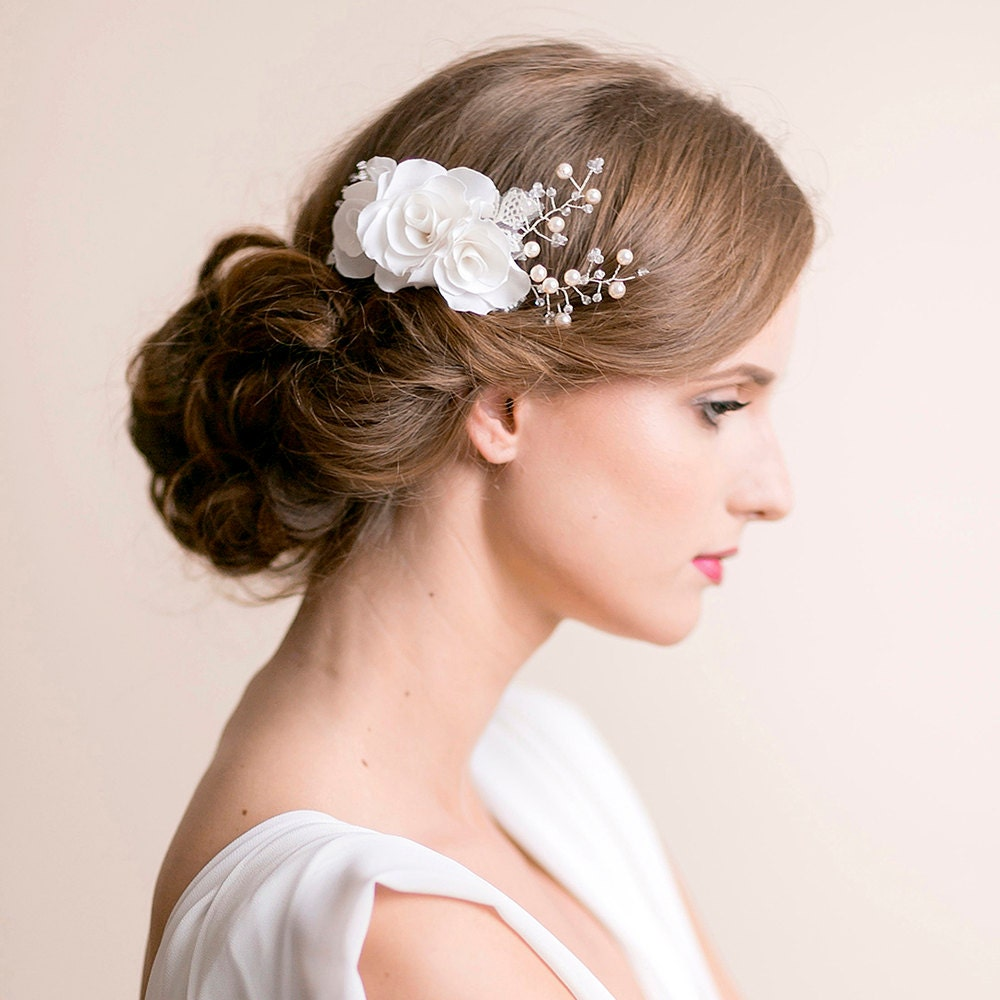 Flower Hair Comb Bridal With Roses And Pearls Bridal Hair