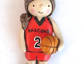 Custom Boy or Girl Basketball Player Christmas Ornament Christmas folk art ornament in polymer clay