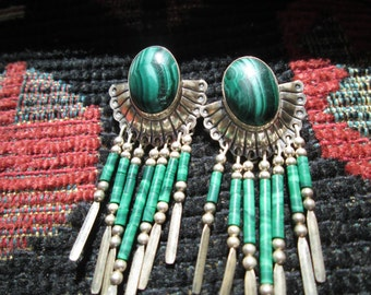 Ornate Malachite and Sterling Dangle Earrings